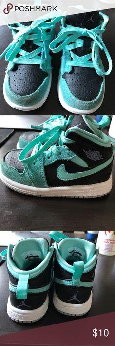 Toddler Girl Jordan's Toddler Girl  TEAL AND black Jordan's a little wear but plenty of wear left Jordan Shoes Sneakers