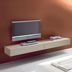 Simple White Stained Wooden Wall Mounted Tv Cabinet Also Brown Stained Wall Plus White Laminated Floor Design