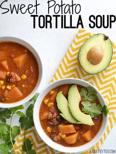 Sweet potatoes add a subtle sweetness to balance the heat for a unique twist on a classic tortilla soup. Step by step photos. @budgetbytes
