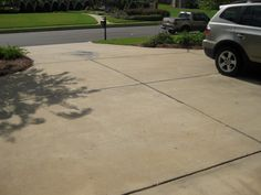 Before: Birmingham: This driveway definitely was old and didn't match the spectacular house it was in front of. Concrete Dye, Stained Concrete, Concrete Coatings, Before And After Pictures, Birmingham, Restoration, House, Home, Haus