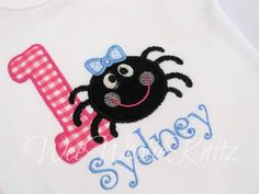 ItsyBitsy Spider Birthday T shirt Bib Girls Boys by WeeWoolieKnitz