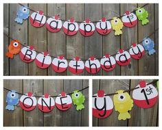 Gone Fishing Themed Banner Set - Happy Birthday Fish Banner - ONE Fish Banner - 1st Birthday Fish Decoration - Made to Order by lilcraftychickadee on Etsy https://www.etsy.com/ca/listing/399353711/gone-fishing-themed-banner-set-happy