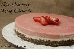 Raw Strawberry Mango Cheesecake - by Udderly Fit  #cheesecake #glutenfree #raw #cake #udderlyfit