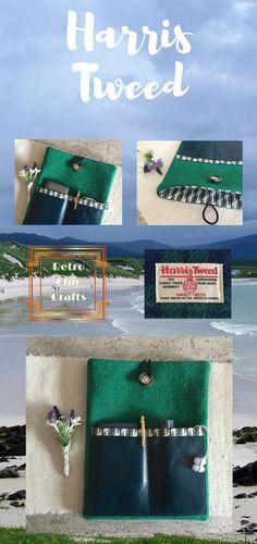 10 inch Tablet Case, Emerald Green and Blackwatch Tartan Harris Tweed, IPad Sleeve Ipad Protective Case, 10 Inch Tablet, Knitted Baby Cardigan, Tablet Cover, Ipad Sleeve, Christmas Gifts For Women, Harris Tweed, Emerald Green
