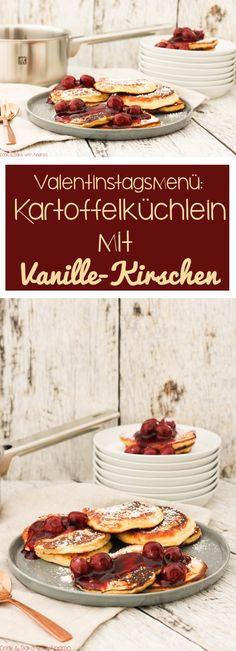 Pancakes mal anders! Das perfekte Dessert für ein leckeres Menü: Kartoffelküchlein mit Kirschen. #valentinstag #liebe #menü #dessert #nachspeise #kartoffeln #kartoffelküchlein #küchlein #vanille #kirschen #puderzucker #kuchen #zwilling #rezept #mehrgangmenü #blog #foodblog #candbwithandrea #candbfood