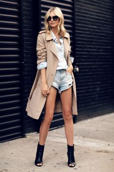 Trench Coat, Cut-Off Denim Shorts & Open Toe Boots -- Jess Stein Of Tuula Vintage #style #fashion