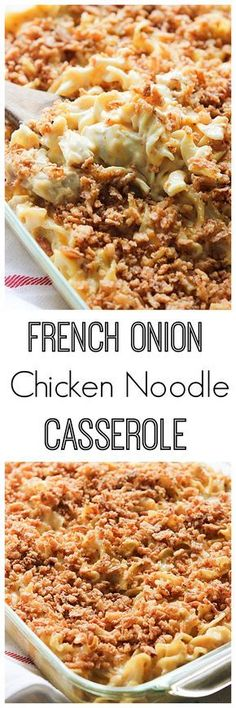 You can use chicken or leftover turkey to make this French Onion Chicken Noodle Casserole. It's comfort food for the coming winter that everyone will love.