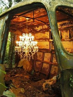 Location: woods dilapidated with the opposition of crystal chandelier