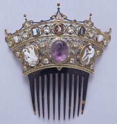 Comb from the famous Devonshire Parure made by C.F. Hancock.  Gold; enamel; diamonds; cornelian; onyx; garnet; jacinths; lapis lazuli; plasma, and sardonyx