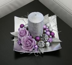 Vánoční svícínek - fialovostříbrný / Zboží prodejce jircice | Fler.cz