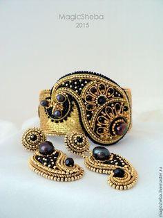 Купить Комплект браслет и серьги, вышитые золотом Огурец-2 - золотой, золотой браслет