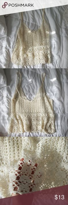 MILAU CROCHET CREAM COVER-UP TOP Cream crochet beach cover-up top. Beautiful crochet work. Perfect for hot summer days. Size medium but will fit sizes small or medium Milau Tops Camisoles