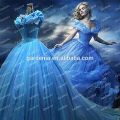Blue Ball Gown Cinderella 2015 | Real Photos New movie Cinderella Princess 2015 Blue Color Ball Gown ...