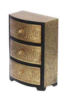 Wooden Black Color Jewelry Box in Bulk - Wholesale Jewelry Box/Trinket Box with 3 Chest Drawers Enhanced with Golden Brass Inlay Work in Traditional-Look Motifs from Wholesale distributors in India - - boxes diy wooden Wood, Shabby Chic Wall Decor, Decorative Boxes, Painted Furniture, Armoire Makeover, Jewelry Armoire Makeover, Trinket Boxes, Mango Wood, Wooden Diy