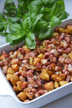 Kurczak zapiekany z ziemniakami i boczkiem - KulinarnePrzeboje.pl Kung Pao Chicken, Potato Salad, Potatoes, Vegetables, Ethnic Recipes, Food, Potato, Essen, Vegetable Recipes
