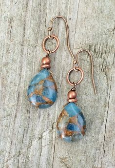 Blue Jasper and Copper Teardrop Dangle Earrings by RusticaJewelry