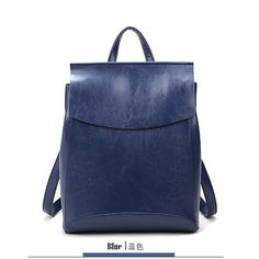 Vintage Simple Style Solid-Colored Quality Leather Backpack 3 Colors