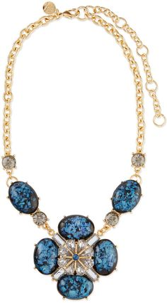 Lee Angel Ornate Layered Crystal Bib Necklace, Blue/Brown on shopstyle.com