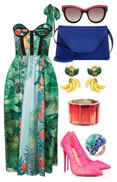 Rainforest by carolineas on Polyvore featuring polyvore, fashion, style, Rochas, Christian Louboutin, Valextra, Oscar de la Renta, Dolce&Gabbana, STELLA McCARTNEY and clothing