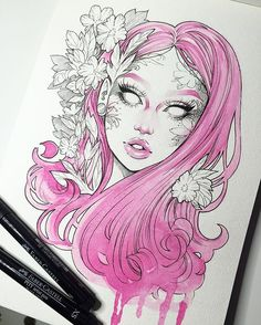 Love this water color ink mix art / inspiration artsy, drawing, maling. Easy Drawings Sketches, Art Drawings, Gothic Drawings, Drawing Ideas, Drawing Projects, Art And Illustration, Portrait Illustration, Arte Sketchbook, Tatoo Art