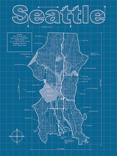 Seattle Artistic Blueprint Map by MapHazardly on Etsy, $30.00