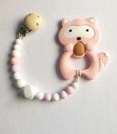Excited to share the latest addition to my #etsy shop: Pacifier clip girl Silicone pacifier clip Silicone teether Raccoon teether Pastel paci clip Dummy chain silicone Baby girl gift Newborn gift