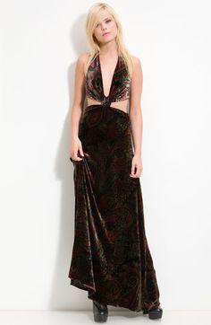 Winter Kate 'Sparrow' Cutout Velvet Halter Maxi Dress - DAMN!