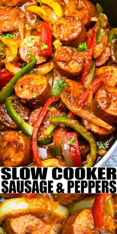 SLOW COOKER SAUSAGE AND PEPPERS RECIPE- Easy crockpot sausage peppers and onions, homemade with simple ingredient, lots of Italian herbs, marinara sauce. Great in pasta, sandwiches, wraps and hoagie rolls. From SlowCookerFoodie.com #crockpot #slowcooker #dinner #sausage #peppers
