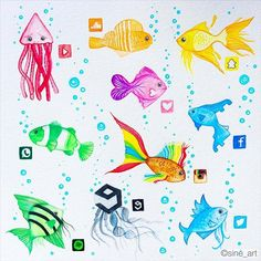 Which is your favorite fish!!?? Follow us! @dailyart Beautiful artwork by @sine_art Tag your friends!#dailyart