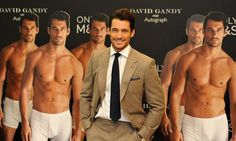 Where can we get hold of one of those David Gandy cut-outs? Model launches underwear collection for M&S surrounded by half-naked pictures of himself september 18, 2014