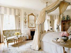 The Enchanted Home: Bedroom Country Bedroom Design, French Country Bedrooms, Bedroom Designs, Dream Bedroom, Home Bedroom, Bedroom Decor, Fancy Bedroom, Bedroom Curtains, Pretty Bedroom