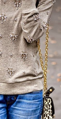 Sweater Shirt With Pearl Work and Jeans