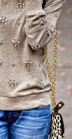 chandelier sweatshirt + boyfriend jeans