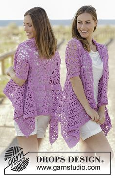 Free Pattern Lilac Dream by DROPS Design Crochet jacket worked in a square with lace pattern and short sleeves in DROPS Cotton Light. Size: S - XXXL