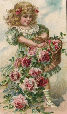 Vintage Illustration Rose girl postcard - I just adore these old illustractions/pictures - girl with roses overflowing in basket Vintage Prints, Éphémères Vintage, Vintage Rosen, Images Vintage, Vintage Ephemera, Vintage Girls, Vintage Pictures, Vintage Paper, Vintage Children