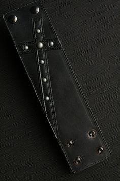 Pulsera brazalete de cuero: Negro brazalete por EthosCustomBrands
