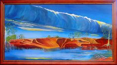Morning Glory and Red Banks Burketown, watercolour.  Unfortunately this painting was lost in a tragic fire at the Waltzing Matilda Centre in Winton, Queensland. Painted by Summer Brook-Jones