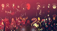 Anime Naruto Pain (Naruto) Konan (Naruto) Sasori (Naruto) Deidara (Naruto) Orochimaru (Naruto) Obito Uchiha Zetsu (Naruto) Kisame Hoshigaki Itachi Uchiha Kakuzu (Naruto) Hidan (Naruto) Fondo de Pantalla