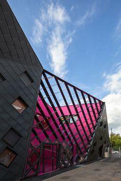 Mulhouse, France... Paul Le Quernec Architecte — Socio-cultural Center in Mulhouse. #Mulhouse #France #PaulLeQuernecArchitecte #Center #color #form #architecture #design #interiors #fractal #angels #light #open #contemporary #pink #monochromatic