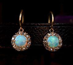 1890s Opal and Rose Cut Diamond Earrings, 14K Yellow Gold