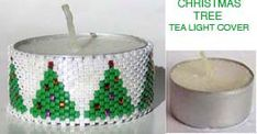 Peyote Stitch Graph Paper For Lighter Covers | CHRISTMAS TREES TEA LIGHT CANDLE COVER