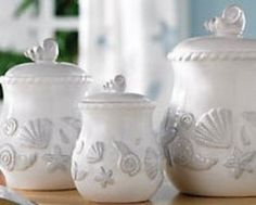 Sea Shell Ceramic Canister Set
