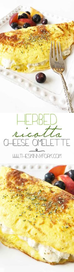 Enjoy this Herbed Ricotta Cheese Omelette for brunch! This makes one big fluffy and filling omelette that I served with some peaches and blueberries. Yum! TheSkinnyFork.com | Skinny & Healthy Recipes