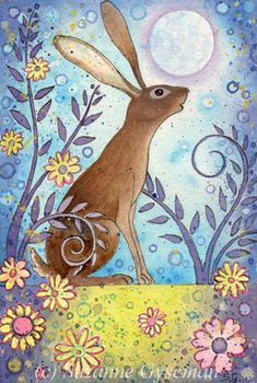 Suzanne Gyseman - Beautiful flowers and bunny rabbit! So cute and whimsical art…