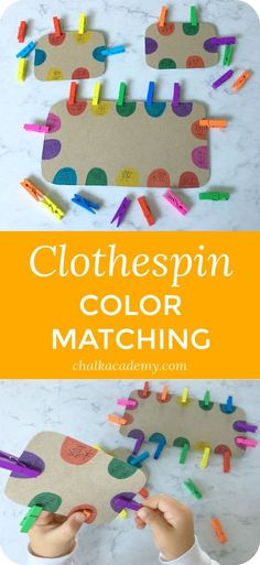 Montessori Inspired Clothespin Color Matching Fine Motor Skills Activity viaClothespin color matching is one of my daughter's favorite activities at age 3 and 4 years. It's a great way to exercise fine motor skills while practicing Chinese character recog Motor Skills Activities, Toddler Learning Activities, Montessori Activities, Infant Activities, Fine Motor Skills, Preschool Activities, Free Preschool, Nursery Activities, Preschool Curriculum
