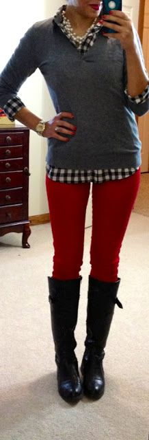 Business casual work outfit: grey sweater, black gingham, red skinnies black boots.