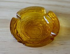 Vintage, Amber Glass Ashtrays,Glass Ashtray,Brown Glass,Small Ashtray,Brown Ashtray by HoneyQueenBee on Etsy