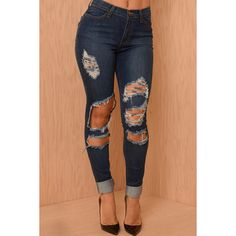 Dark Blue Shredded Distressed Skinny Jeans ($27) ❤ liked on Polyvore featuring jeans, destroyed skinny jeans, stretch skinny jeans, destructed jeans, denim skinny jeans and ripped jeans