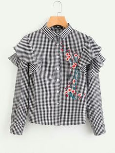 SheIn offers Flower Blossom Embroidered Layered Frill Checkered Blouse & more to fit your fashionable needs. Casual Tops For Women, Blouses For Women, T Shirts For Women, Blouse Styles, Blouse Designs, Hijab Fashion, Fashion Dresses, Casual Dresses, Casual Outfits