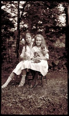 Nova Scotia Archives-girls and their kitten